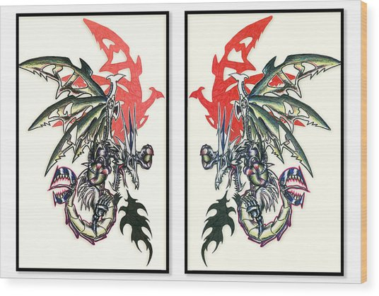Wood Print featuring the painting Mech Dragons Collide by Shawn Dall