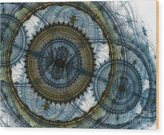 Mechanical Circles Wood Print