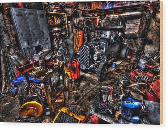 Mechanics Garage Wood Print