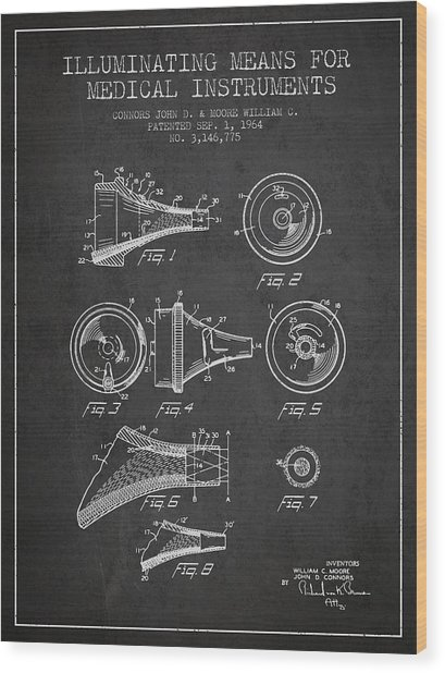 Medical Instrument Patent From 1964 - Dark Wood Print by Aged Pixel