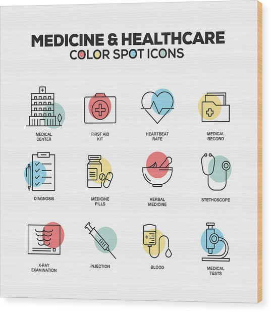 Medicine And Healthcare Icons. Vector Line Icons Set. Premium Quality. Modern Outline Symbols And Pictograms. Wood Print by Cnythzl