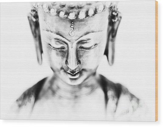 Medicine Buddha Monochrome Wood Print