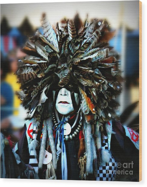 Medicine Man Headdress Wood Print by Scarlett Images Photography