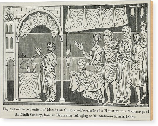 Medieval Mass The Celebration Of Mass Wood Print by Mary Evans Picture Library