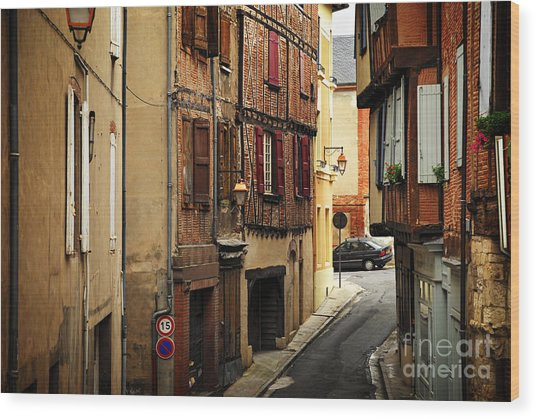 Medieval Street In Albi France Wood Print