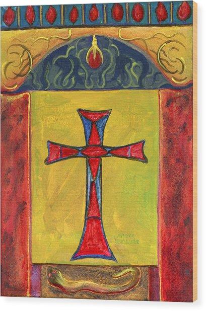 Medieval Style Symbolic Cross Original Painting Wood Print