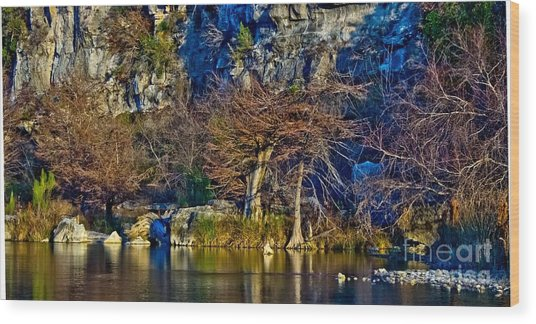 Medina River At Comanche Cliffs Wood Print
