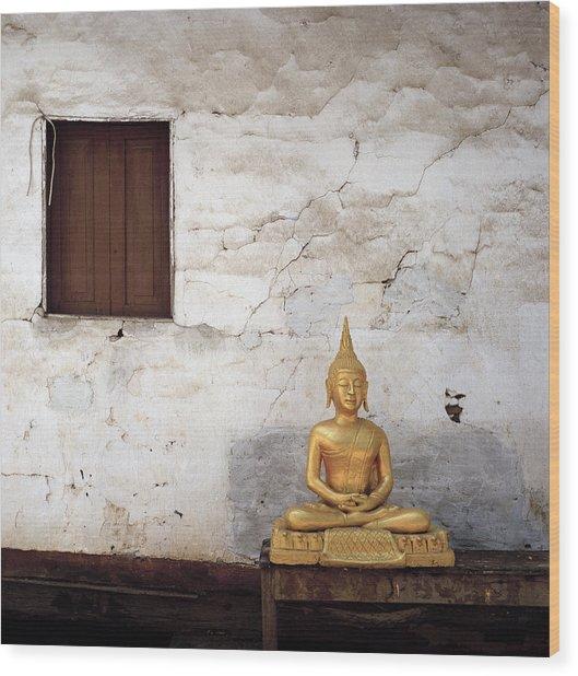 Meditation In Laos Wood Print