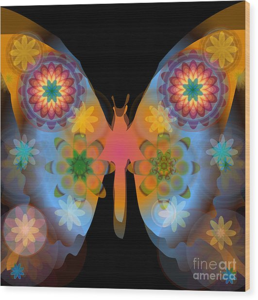 Meditative Butterfly Wood Print