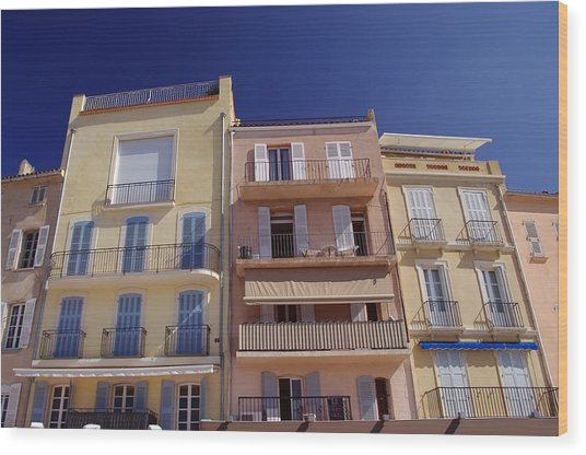 Mediterranean Coastline Appartments Wood Print by Ioan Panaite