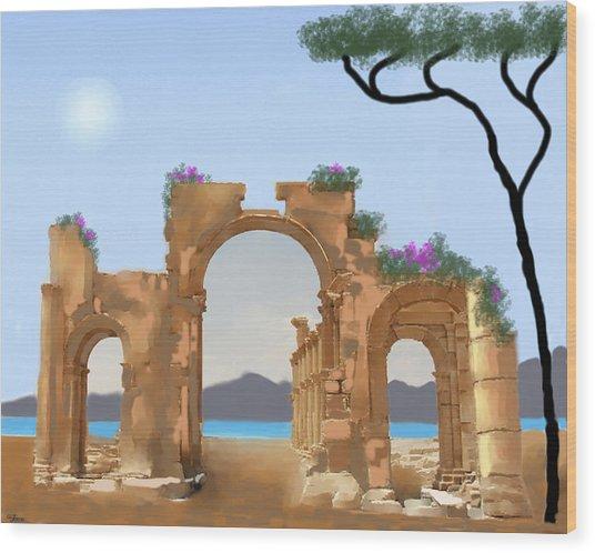 Mediterranean Ruins Wood Print