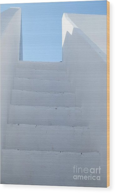 Mediterranean Staircase Wood Print