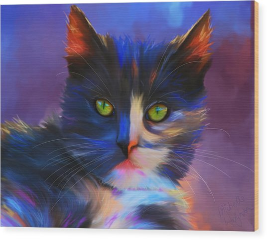 Meesha Colorful Cat Portrait Wood Print