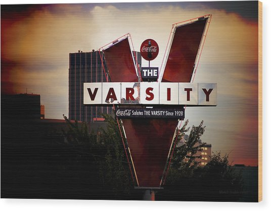 Wood Print featuring the photograph Meeting At The Varsity - Atlanta Icons by Mark E Tisdale