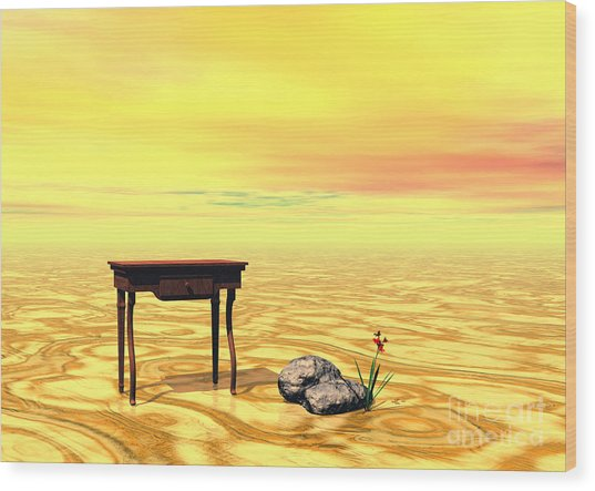 Meeting On Plain - Surrealism Wood Print