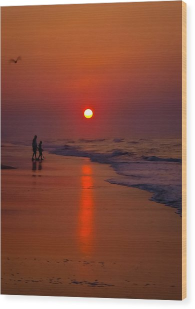 Meeting The Waves Wood Print by Ron Plasencia