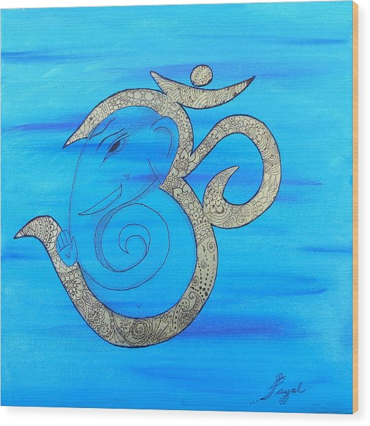 Mehndi Ganesh In Ohm  Wood Print