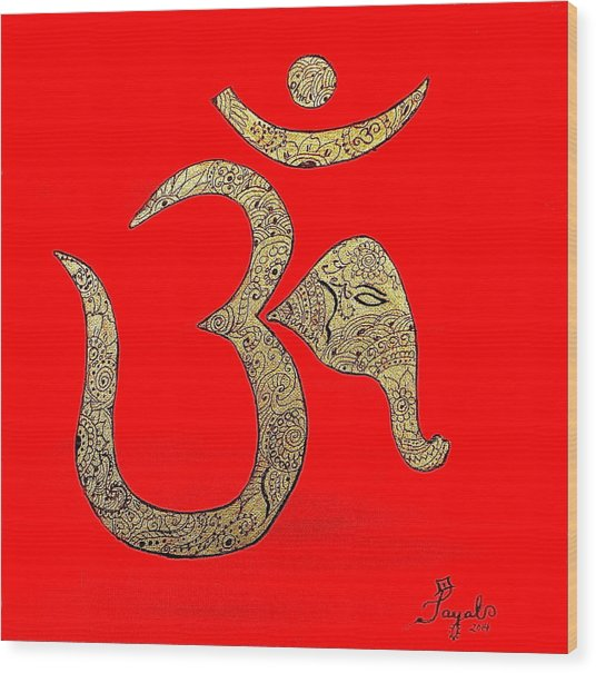 Mehndi Ganesh Ohm Wood Print