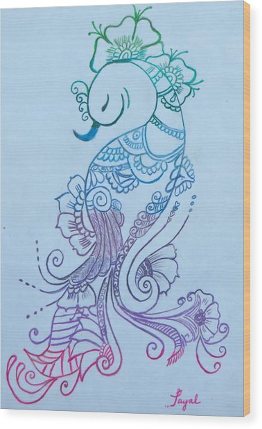 Mehndi Peacock Wood Print