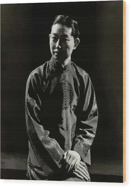 Mei Lanfang Wearing A Chinese Jacket Wood Print