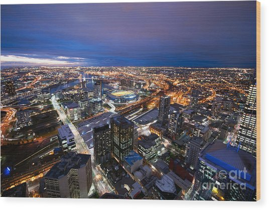 Melbourne At Night Wood Print