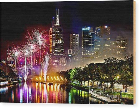 Melbourne Fireworks Spectacular Wood Print