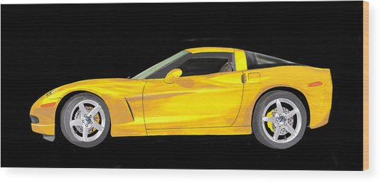 Mellow Yellow Corvette C 6 Wood Print
