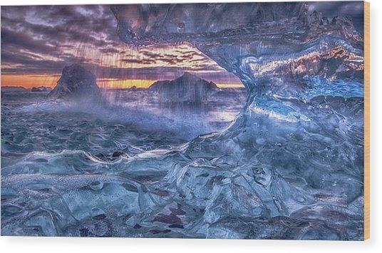 Melting Blue Crystal Wood Print