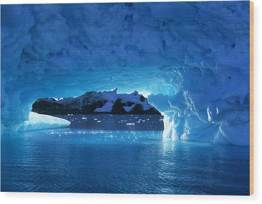Melting Ice Cave Antarctica Wood Print