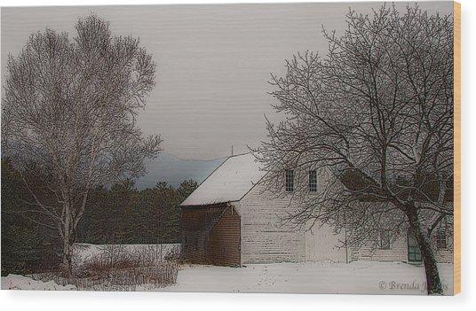 Melvin Village Barn In Winter Wood Print