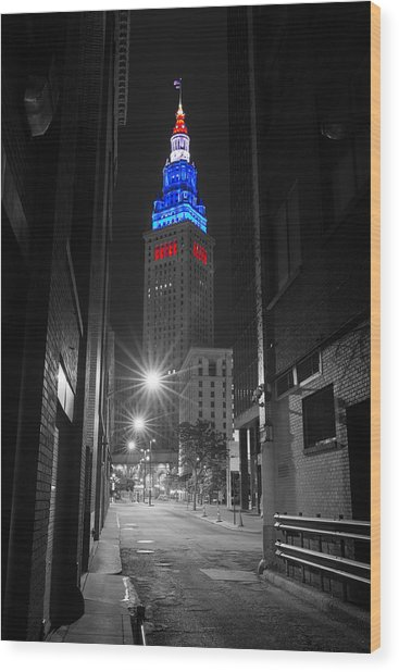 Memorial Day Terminal Tower In Cleveland Wood Print