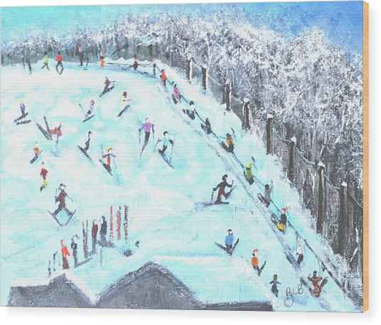 Memories Of Skiing Wood Print
