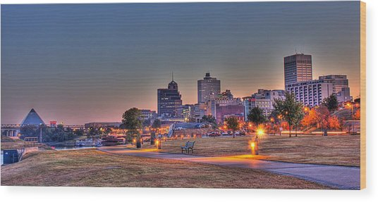 Cityscape - Skyline - Memphis At Dawn Wood Print