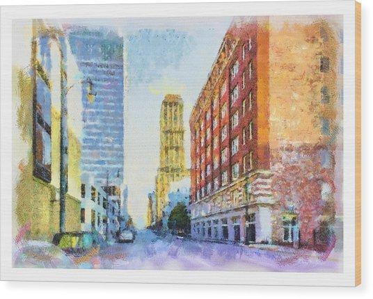 Memphis City Street Wood Print