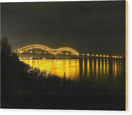 Wood Print featuring the photograph Memphis - Hernando De Soto Bridge 001 by Lance Vaughn