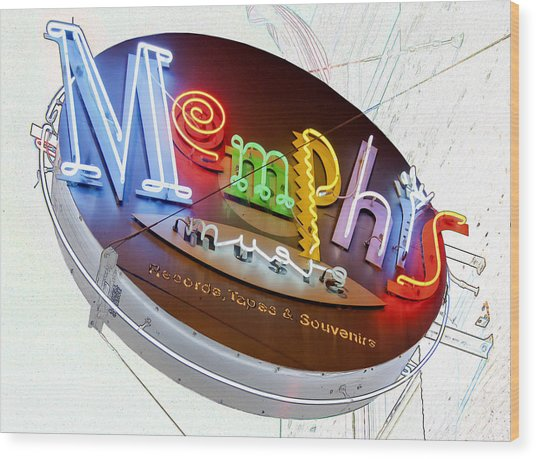 Memphis Sign Wood Print