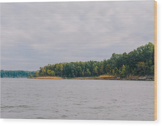 Men Fishing On Barren River Lake Wood Print