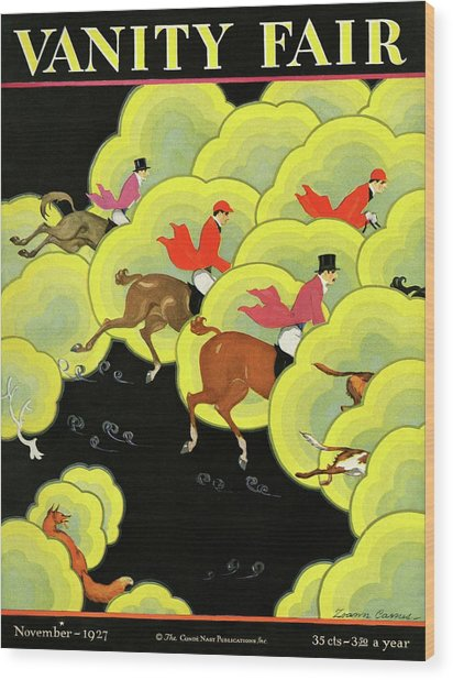 Men Pursuing A Fox Wood Print by Zoan Carnes