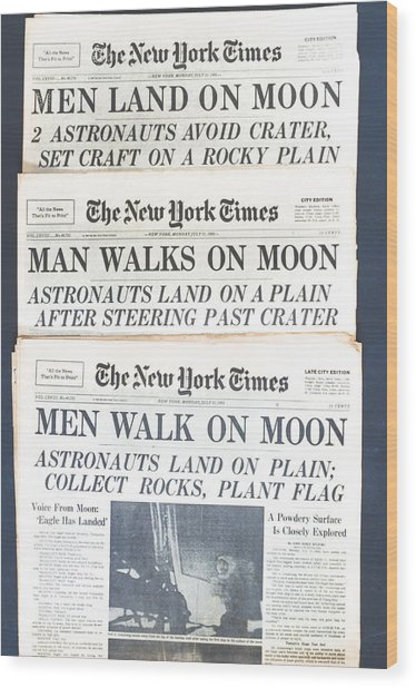 Men Walk On The Moon Wood Print