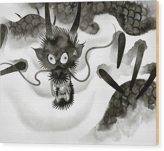 Menacing Dragon Emerging From Fog Wood Print