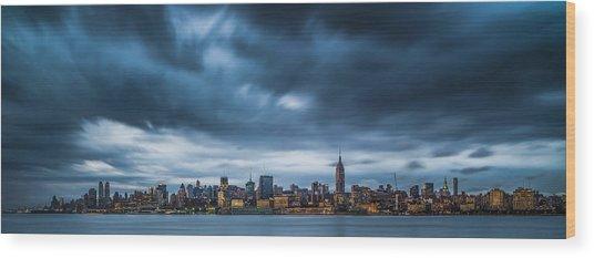 Menacing Sky Over Manhattan Wood Print by Chris Halford