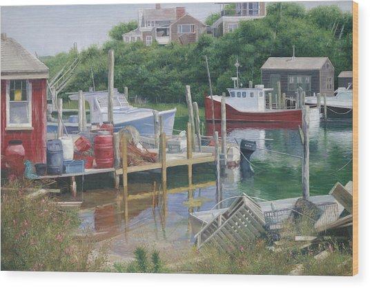 Menemsha Harbor Reds - Martha's Vineyard Wood Print by Julia O'Malley-Keyes