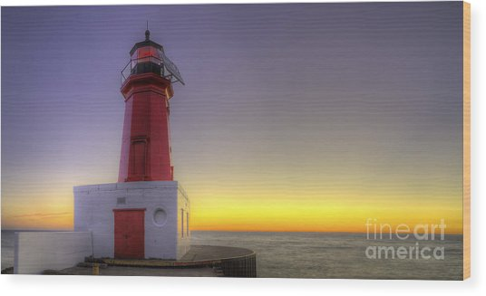 Menominee Lighthouse At Sunrise Wood Print by Twenty Two North Photography