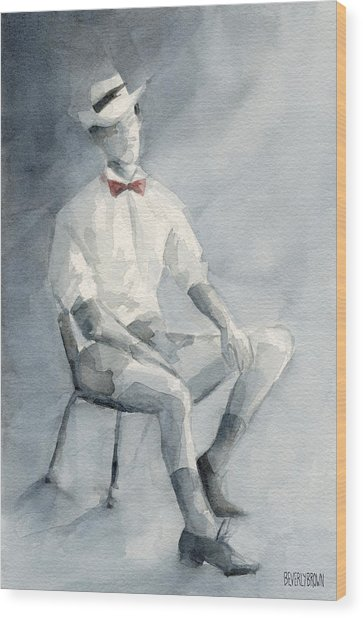 Mens Fashion Illustration Art Print Hat And Bowtie Wood Print by Beverly Brown