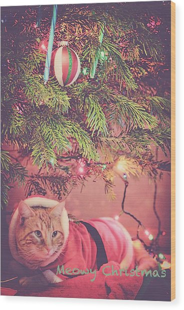 Meowy Christmas Wood Print