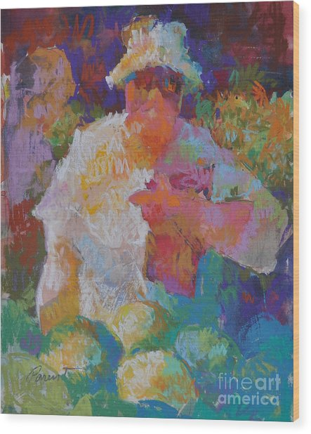 Mercado Lady With Melons Wood Print