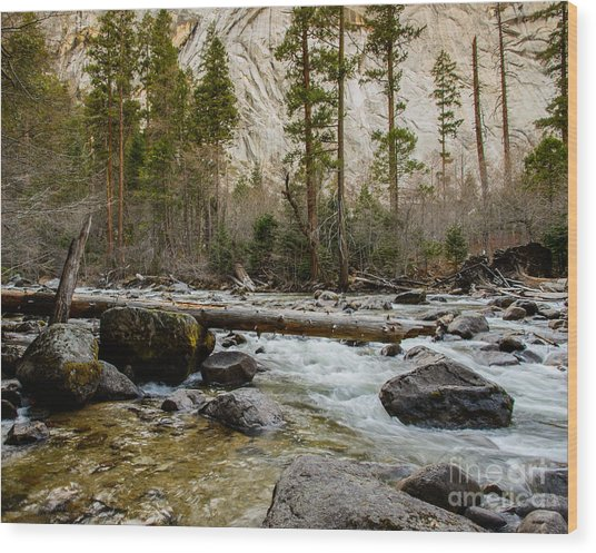 Merced River From Happy Isles 2 Wood Print
