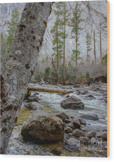 Merced River From Happy Isles Wood Print