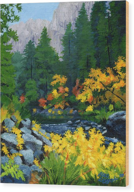 Merced River In Autumn Wood Print