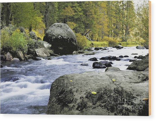 Merced River In Yosemite Wood Print